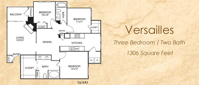 1,306 sq. ft. Versailles floor plan