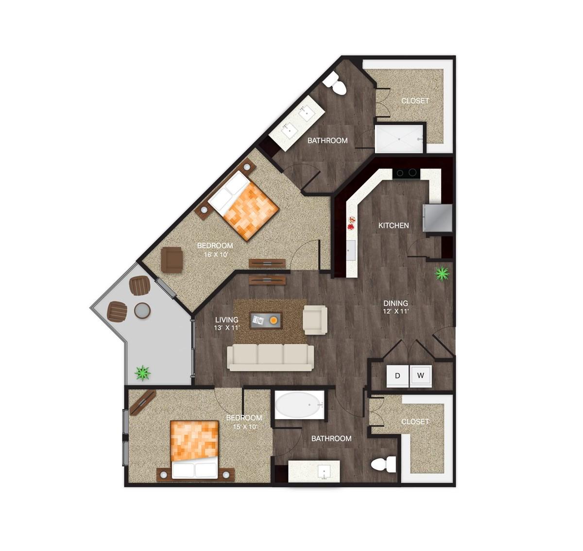 1,234 sq. ft. B-7 floor plan