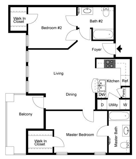 973 sq. ft. B1 floor plan