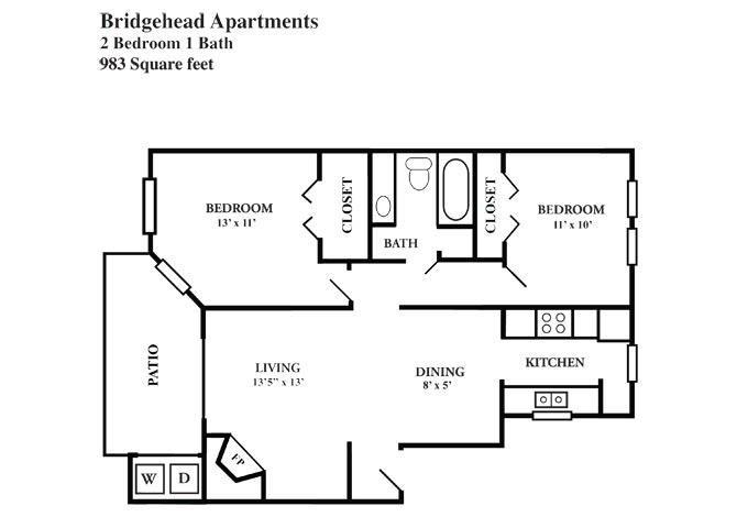 983 sq. ft. F floor plan