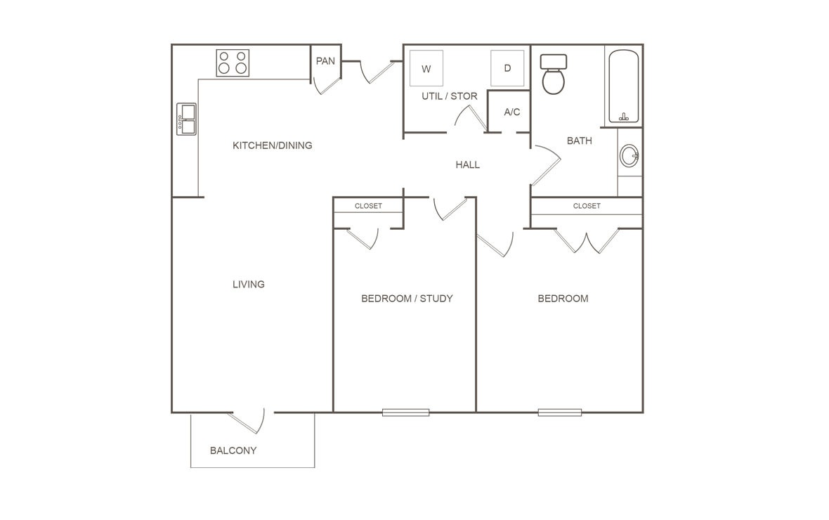 936 sq. ft. A/60% floor plan