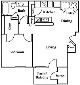 659 sq. ft. A1 floor plan