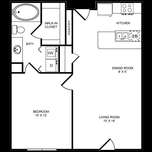 726 sq. ft. 1x1M floor plan