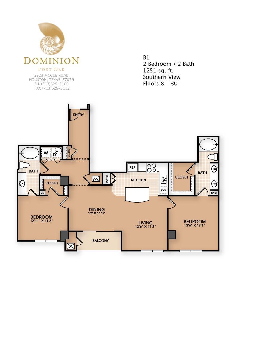 1,251 sq. ft. B1 floor plan