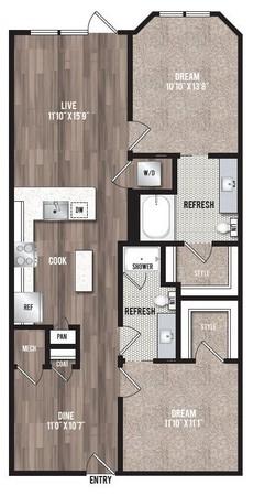 1,124 sq. ft. B6 floor plan