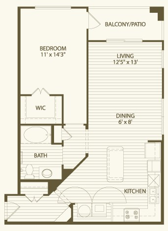 812 sq. ft. A3 floor plan