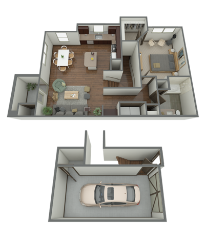 909 sq. ft. A4G floor plan