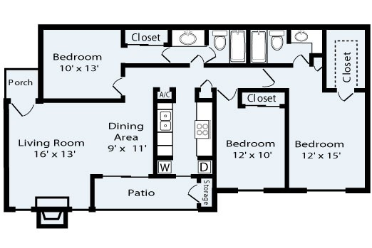 1,209 sq. ft. Palisades floor plan