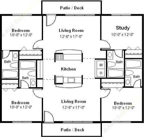1,200 sq. ft. floor plan