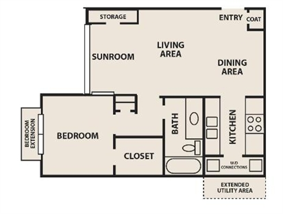 705 sq. ft. A2 floor plan