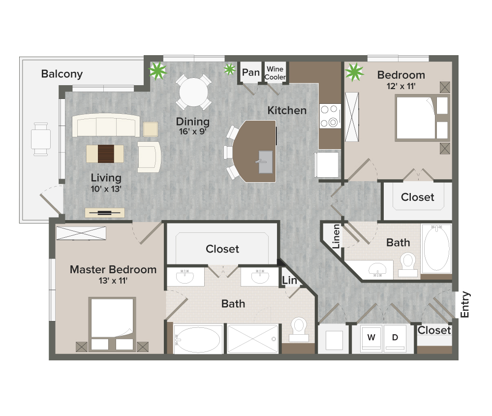 1,191 sq. ft. Parker-B2 floor plan