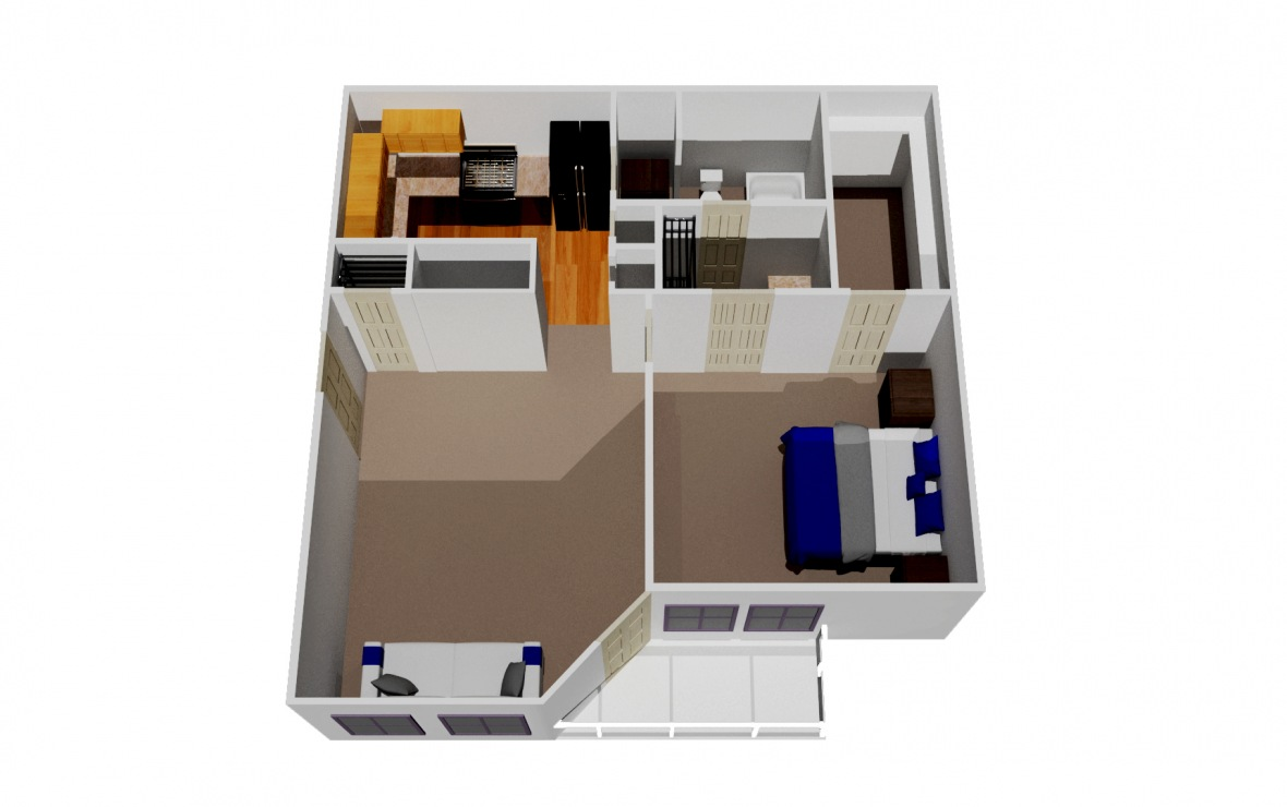 520 sq. ft. A1 floor plan