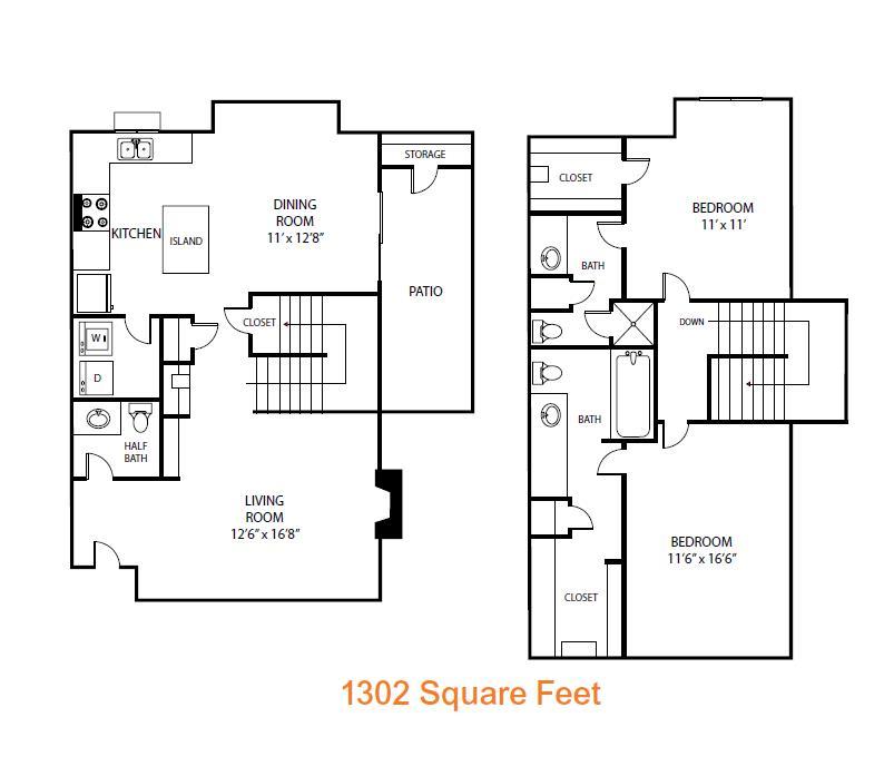 1,302 sq. ft. Magnolia floor plan
