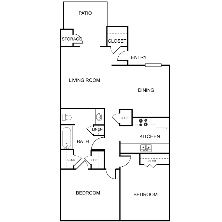 928 sq. ft. B3 floor plan