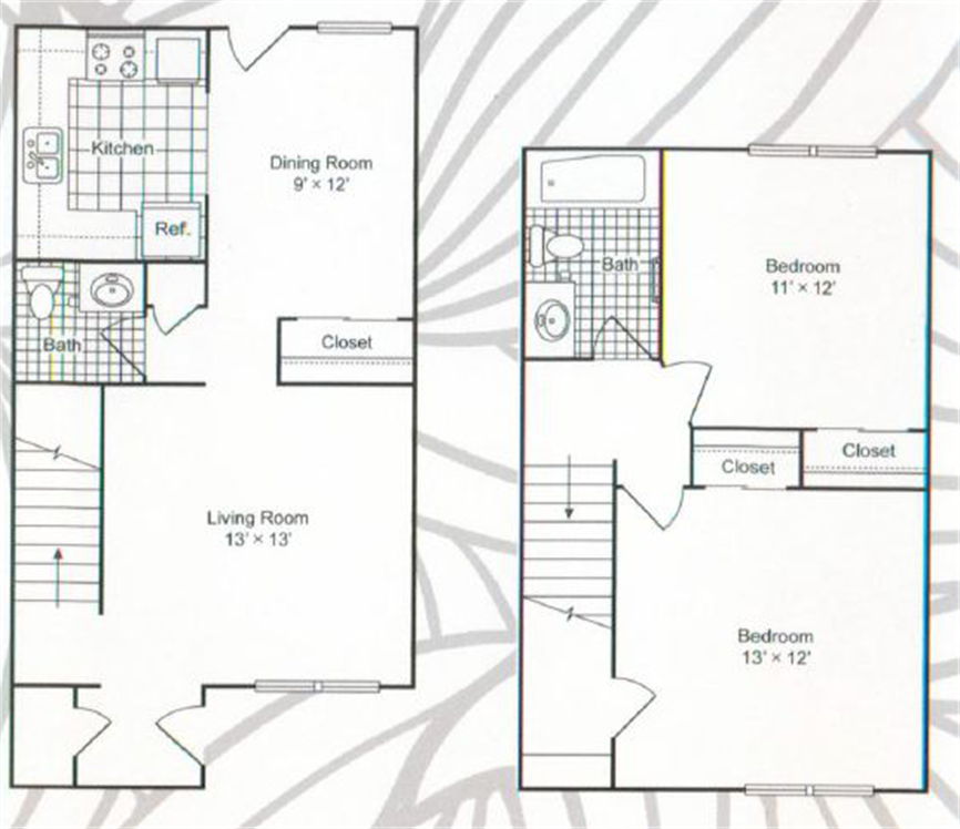 1,067 sq. ft. floor plan