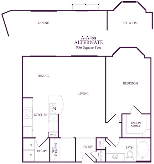 859 sq. ft. A-A4S floor plan