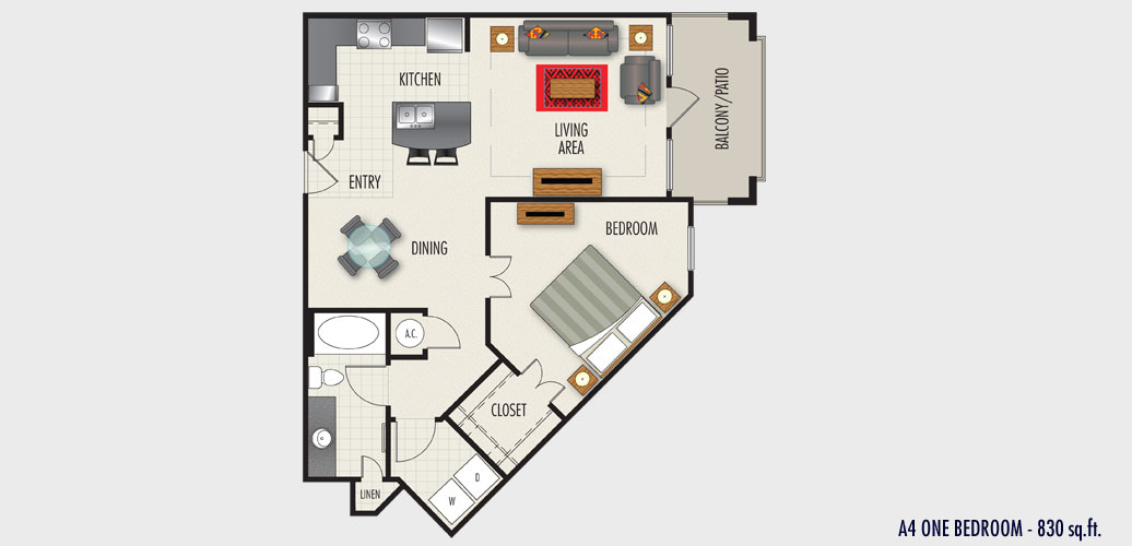 830 sq. ft. to 925 sq. ft. A4 floor plan