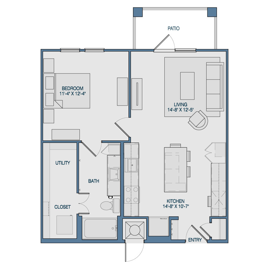 749 sq. ft. A5 floor plan