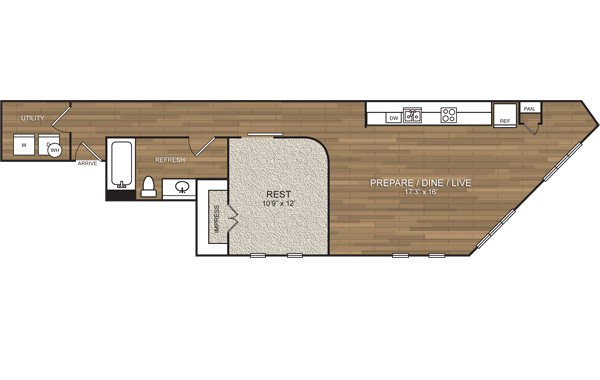 798 sq. ft. A9 floor plan