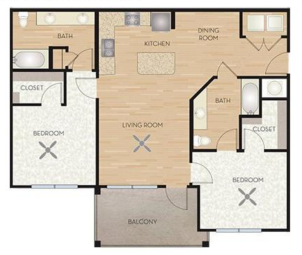 1,025 sq. ft. B1/Mistflower floor plan