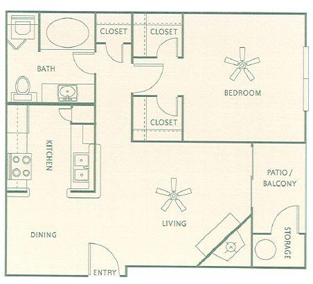 676 sq. ft. A2 floor plan