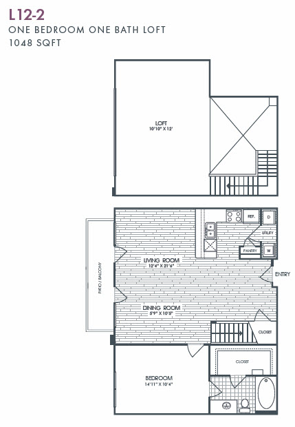 1,048 sq. ft. L12-2 floor plan