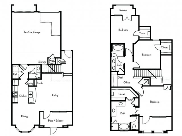 1,719 sq. ft. to 1,732 sq. ft. C-TH floor plan