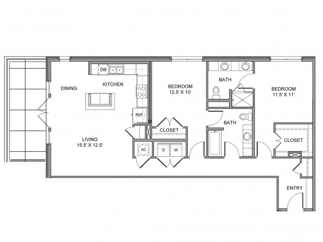 1,262 sq. ft. St Paul floor plan