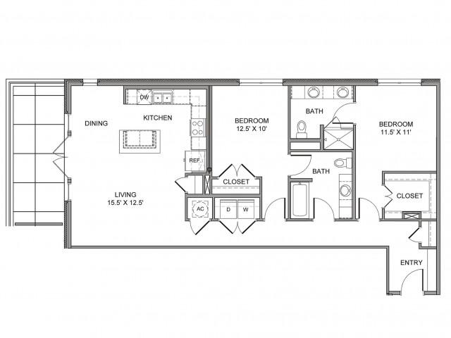 1,262 sq. ft. St Paul floor plan