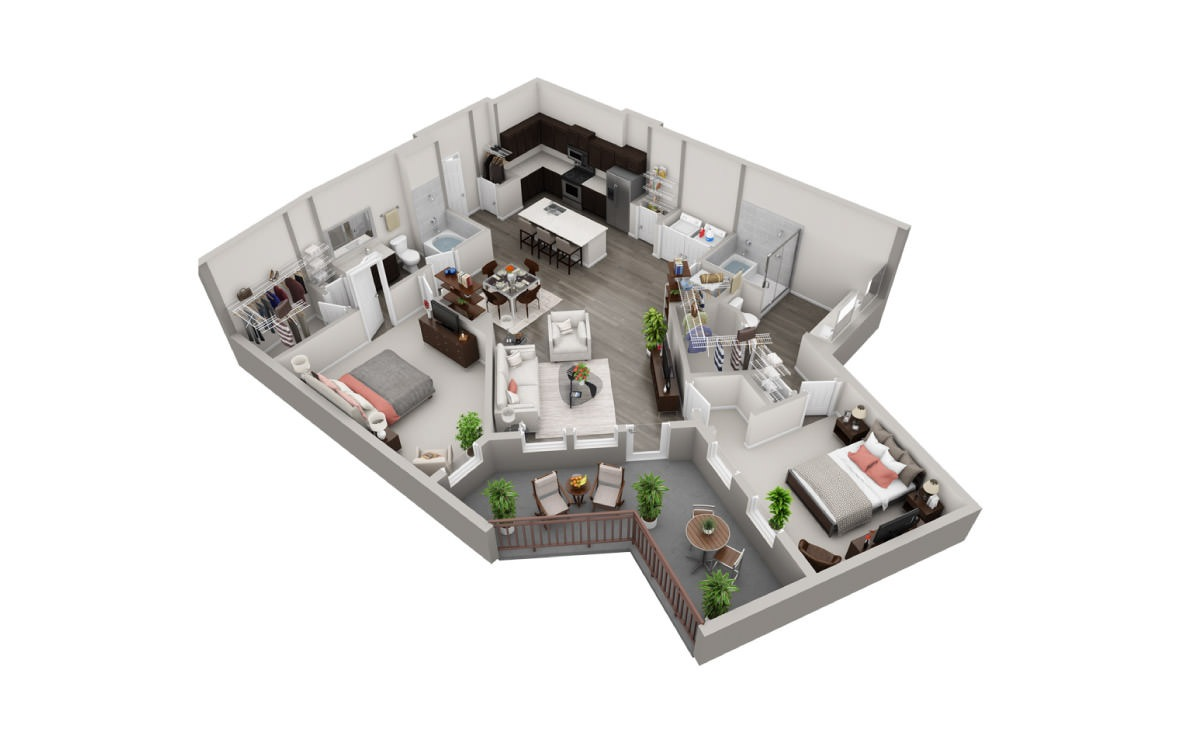 1,342 sq. ft. B5 floor plan
