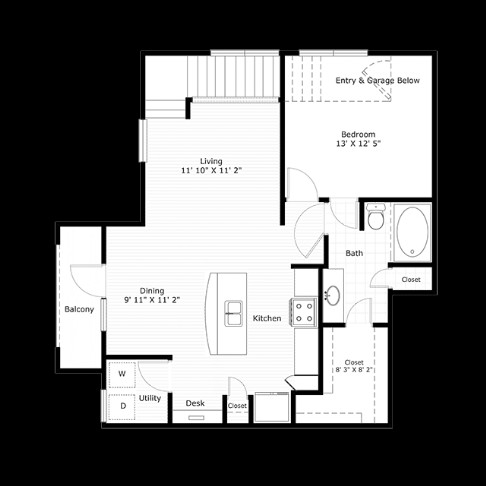 892 sq. ft. A4 floor plan