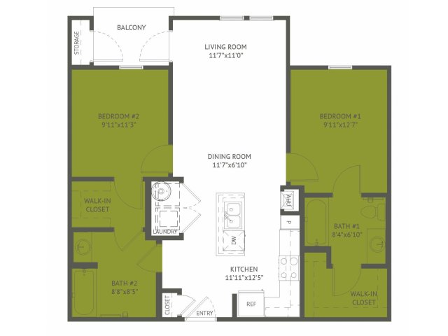 914 sq. ft. Altgelt/50% floor plan