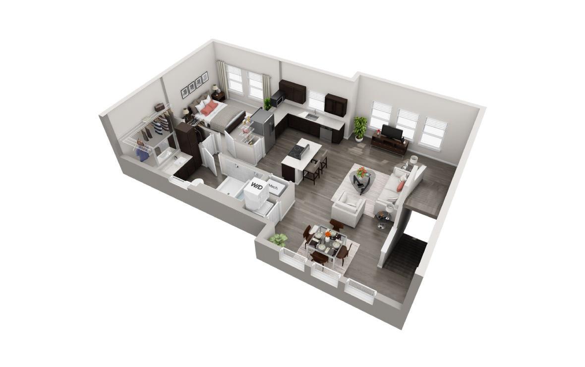 931 sq. ft. TH floor plan