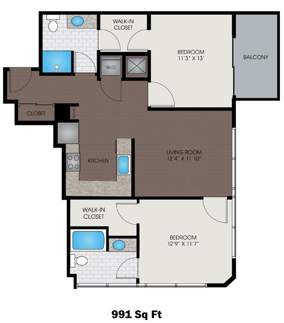 991 sq. ft. A floor plan