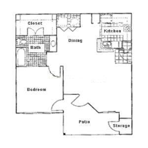796 sq. ft. A3 floor plan