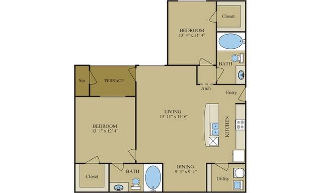 1,068 sq. ft. B2 floor plan