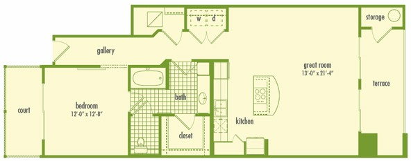 945 sq. ft. L1 floor plan