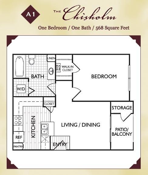 568 sq. ft. Chisholm floor plan
