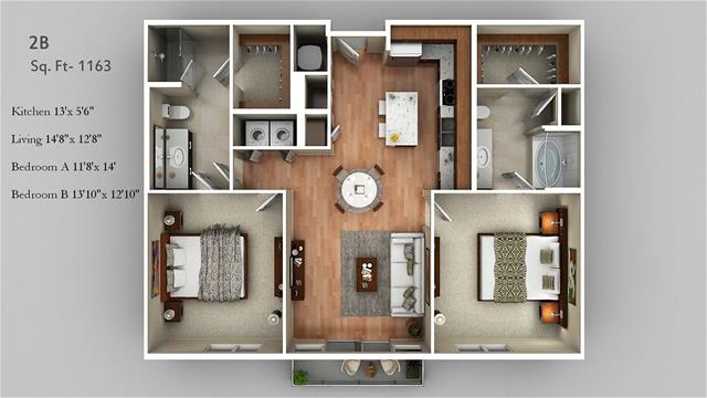 1,163 sq. ft. 2B floor plan