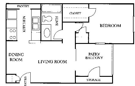 623 sq. ft. A1 floor plan