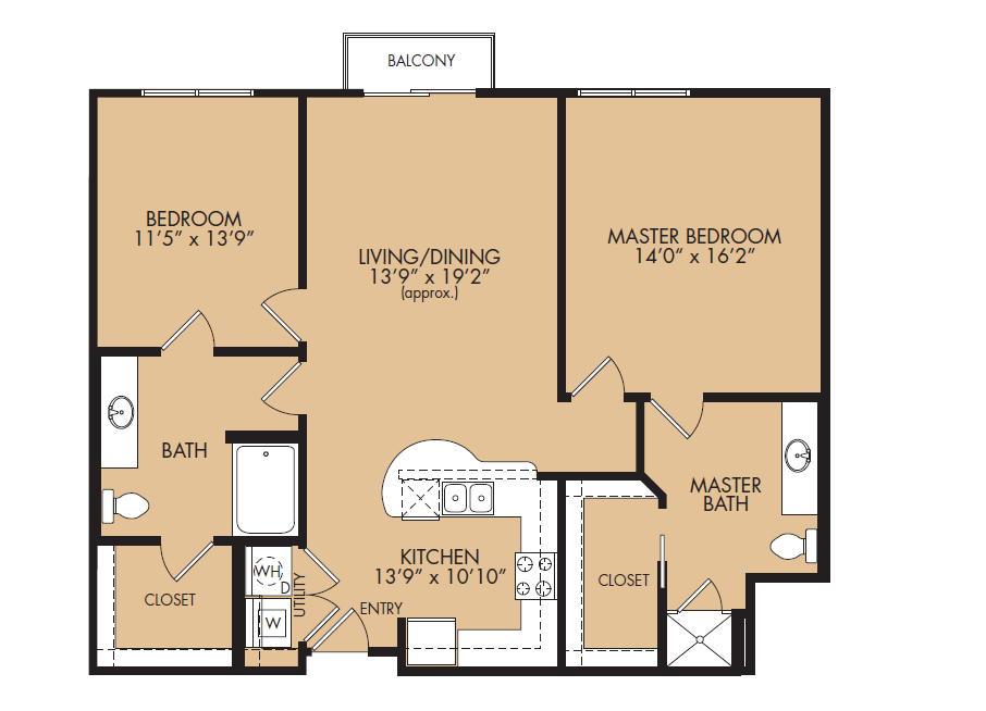 1,209 sq. ft. B1-Vanguard floor plan