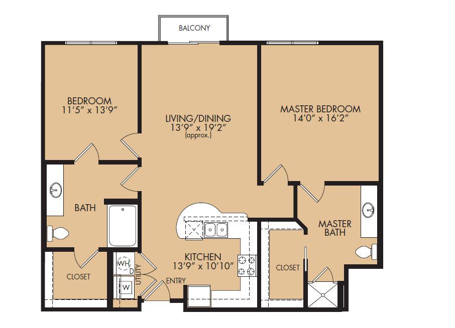 1,209 sq. ft. B1-Vanguard floor plan