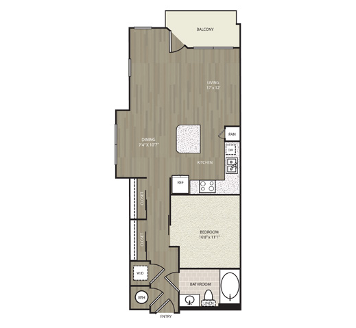 725 sq. ft. A9 floor plan