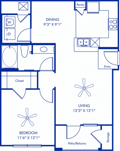 752 sq. ft. Burgandy floor plan
