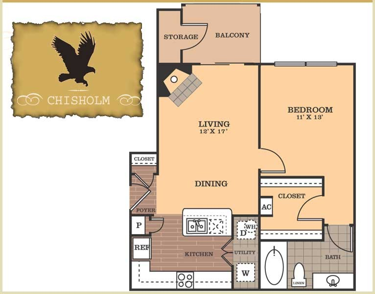 698 sq. ft. Chisholm floor plan