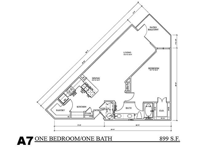 899 sq. ft. TH B floor plan