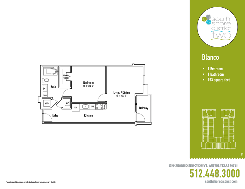 753 sq. ft. Blanco floor plan