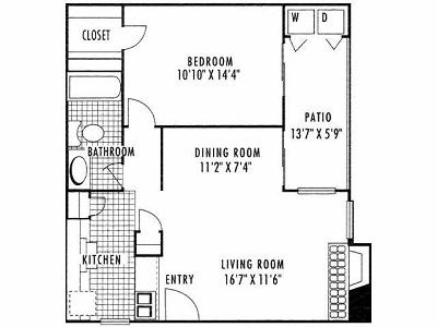 689 sq. ft. A1 floor plan