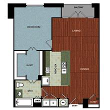 1,095 sq. ft. A7 floor plan