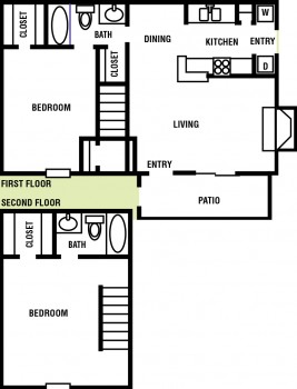 1,019 sq. ft. Maple floor plan